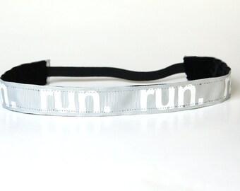 "Gifts for Runners, NoSlip Headband 1"", Running Headband, Fitness Accessory, Sports Headband, Team Gift, Track Team, Grey Headband, Run Day"