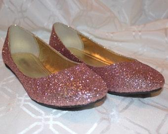 Rose Gold Glitter Bridal Shoes - Wedding Flats