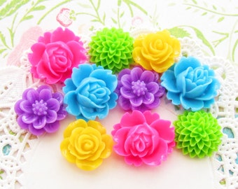Neon Bright Resin Flower Cabochon Mix Destash Kawaii Mums Roses Hot Pink Yellow Green Aqua Purple 10 Piece