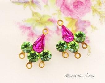 Swarovski Fuchsia Pink and Peridot Green Rhinestone Chandelier Earring Connector Findings Fleur de Lis - 2