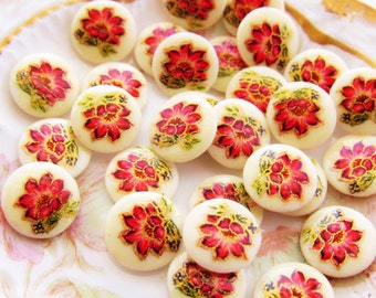 Vintage Pink Rose Flower Cabochons 10mm Round Glass Floral Stones - 6