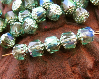 8mm  Iridescent AB Chrysolite Cathedral Czech Glass Fire Polished Beads - 10
