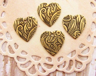 Antiqued Brass Ox Floral Embossed Heart Charms Drops - 6