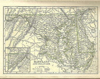 1907 State Map - CHOICE - Maryland & Delaware / Virginia OR South Carolina / Georgia - Antique Color Tinted w/ Railroads and Towns -