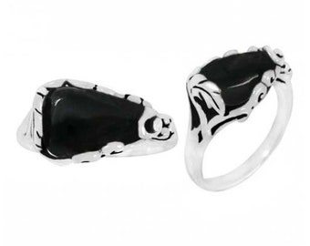 Black Onyx Ring. Sterling Silver Ring with Black Onyx. Available in US Ring Sizes 5 - 12.