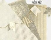 Metallic Gold Printed Felt // Metallic Gold Tinsel Felt // Metallic Gold Wool Felt // Printed Wool Felt // Gold Foil Print // Foil Fabric