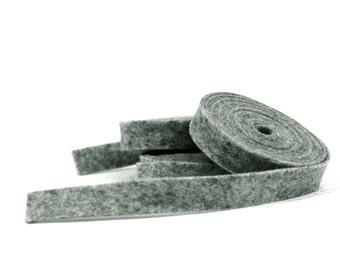 Wool Felt - 100 Percent Wool Felt Ribbon in color DARK HEATHER GRAY - 1/2 Inch X 2 Yards - Merino Wool Felt - Dark Heather Gray Ribbon