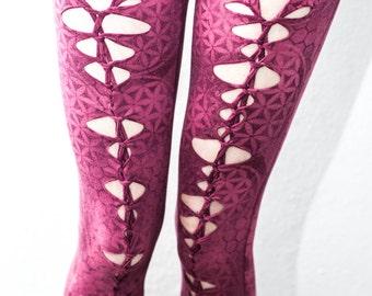 Pink woven flower of life leggings