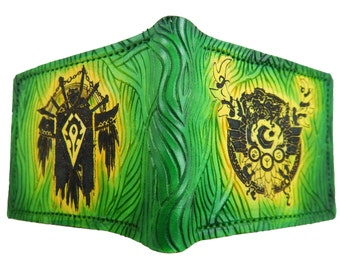 Druid crest and Horde crest Leather Wallet,