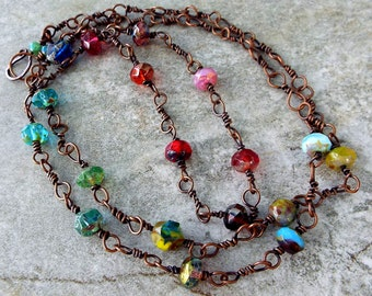Boho Rustic Beachy Czech Glass Premium Bead Multicolor Necklace on Hand Forged Copper Link Chain