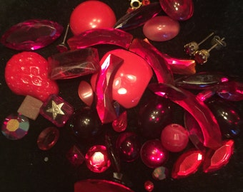 Vintage Red Rhinestones/ Jewelry Pieces