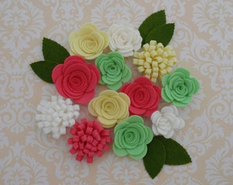 Handmade Wool Felt Flowers, Pink Coral, Barely Yellow, and Granny Smith Apple