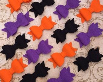 Halloween  Wool Felt Bows. Tangelo, Purple and Black