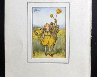 Cicely Mary Barker C1930 Flower Fairy Print. The Buttercup Fairy