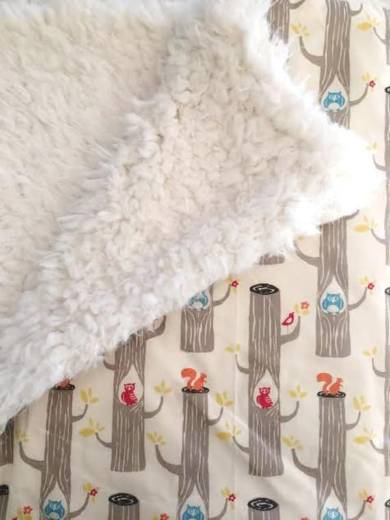 Organic Baby Blanket,  Woodland Friends from Monaluna for Birch fabric and Cuddle Faux Fur, Great Baby Gift Idea, Baby Shower Gift