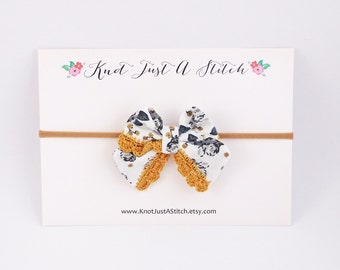 Grey Floral Ladylike Bow with Gold Crochet Trim