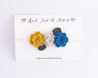 Teal Fall Crochet Flower Crown