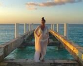 Maxi Kaftan Boho Chic Dress Yoga Meditaion Mantra Kundalini Caftan White Long Cover Up Womens Muumuu One Size Cotton