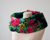 black floral circle scarf, infinity scarf, Russian shawl, vintage babushka, black, red and green, roses circle scarf, black floral scarf 170