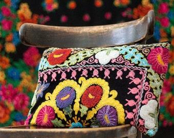 Uzbek suzani pillow, SINGLE, decorative pillow, silk cotton, floral needlework, maroon berry bordeaux burgundy wine red claret