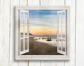 Window view to the beach printed on canvas - housewarming gift idea