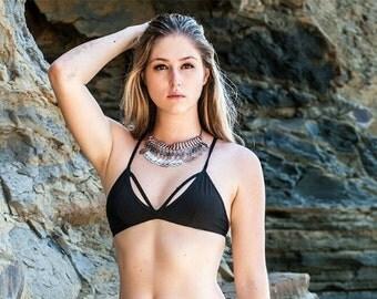 Midnight Crescent Cutout Top - Sexy Black Bikini Bralette Strappy Lace Back Bra or Bralette