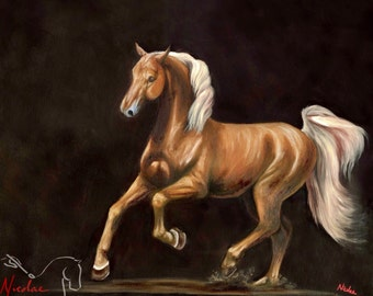 "Nicolae Equine Art Nicole Smith horse artist Fine art high quality Giclee reproduction of original artwork ""Spirit of a Saddlebred"" 8x10"