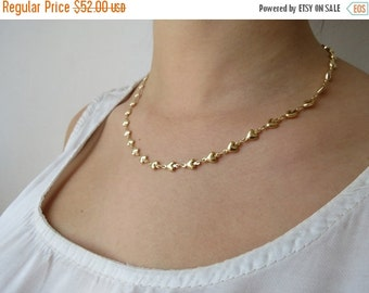 ON SALE 25% Gold chain, gold necklace, hearts necklace, delicate necklace,  thin gold necklace, dainty gold necklace, minimalist necklace