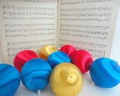 Vintage SATIN BALLS - Set of 9- Retro Christmas decor-  Medium Ornaments - 1970s - Red Blue Gold