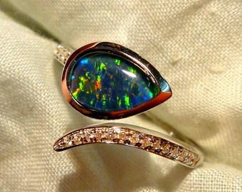 Opal Ring Ladies Sterling Silver 925 & CZ, 9x6mm Teardrop Triplet. item 100920.