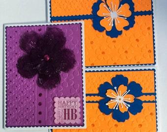 Set of 3 Handmade flower cards – flower cards - purple flowers - orange flowers - embossed flower cards - wcards