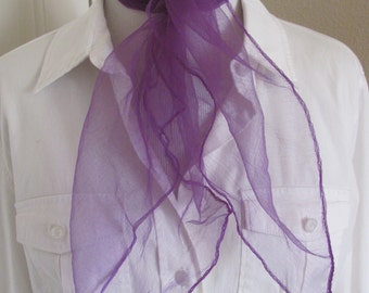 Scarf Solid Purple Sheer Nylon Scarf Square - Affordable Scarves!!! Why Pay More! (38A)