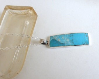 Vintage Long Sterling Silver Classic Rectangular Turquoise Pendant Necklace