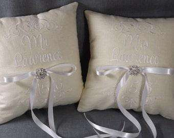 Mr & Mrs Ring Bearer Pillows, Pair of pillows