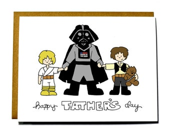 Funny Father's Day card - Star Wars, father and son, father and daughter