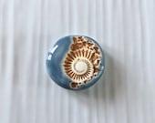 Handmade stoneware Cabochon, Organic ammonite cabochon