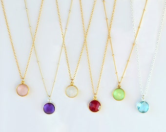 Gold Gemstone necklace - bridesmaid necklace, gemstone pendant necklace - gem necklace, custom birthstone necklace, mothers day gift for her