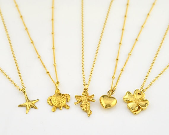 Gold sea star necklace - angel charm necklace, turtle charm necklace, clover charm necklace, gift for her, custom bridesmaid necklace, heart