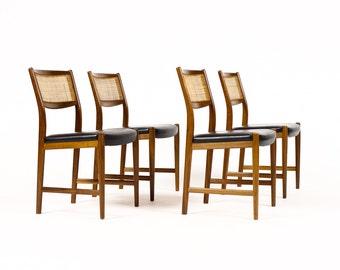 Danish Modern / Mid Century Walnut Dining Chairs — Skaraborgs Möbelindustri — Black Seats — Set of Four