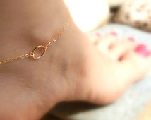 Anklet gold, Circle anklet bracelet, Eternity karma anklet, Gift for her, Foot circle bracelet, Gold filled anklet