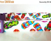 """Sale 50% Off Flip Flop Dog Collar - Summer Dog Collar - Multi-Colored Flip Flops on White """"Flip Flop"""" - NO EXTRA Charge for colored buckles"""
