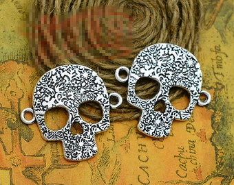 10pcs 31mm x 33mm Skull Connector Charms Antique Silver Tone - SC2157