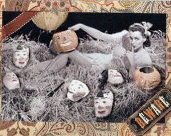 Original vintage inspired Halloween pinup card
