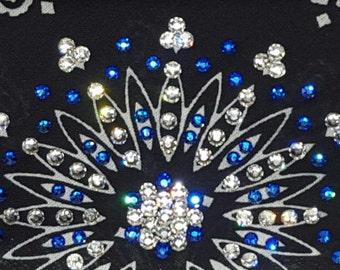 Black Bandana With Blue and Clear Swarovski Crystals