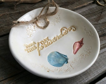 "Beach wedding Ring Dish, Nautical ring bearer bowl, Shell Wedding Ring Bowl, Nautical Shell Ring Dish, romantic Quote""From this day Forward"""