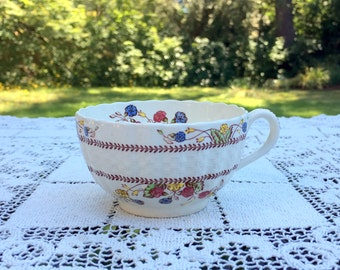 "Spode Copeland Cowslip Tea Cup 3  3/4"" x 2  1/8"" Multi Color Flower Pattern  on Ivory Porcelain Chelsea Wicker Shape English Tea Cup VG Cond"