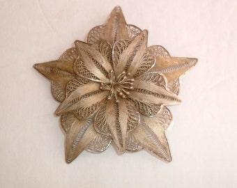 Sterling 925 Vintage Artisan Filigree Brooch Pin
