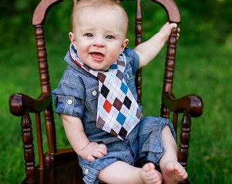 Gray Argyle Baby Necktie Bib