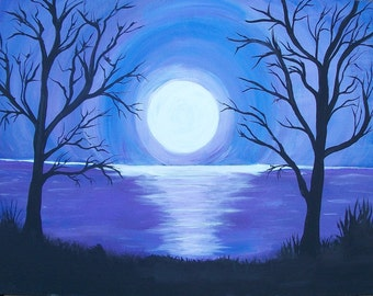 Moonlight on the Water, Original Painting, Free Shipping