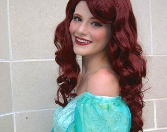 Princess Ariel Mermaid Auburn Curly Wig